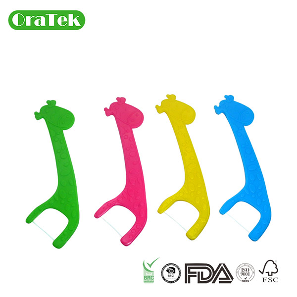 Corn Starch Plastic Free Giraffe Flosser For Kids