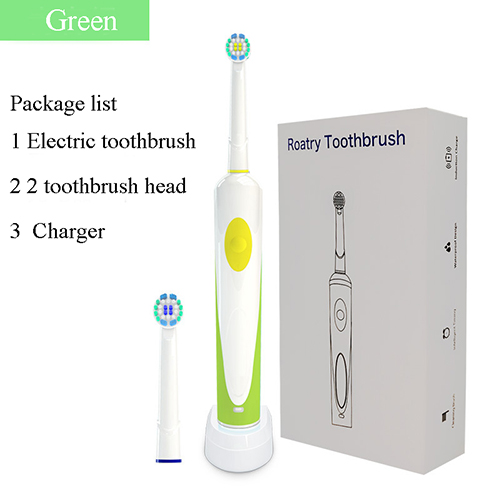 Rotating Electric Toothbrush Battery Power With 2 Brush Heads Oral Hygiene Care Rechargeable
